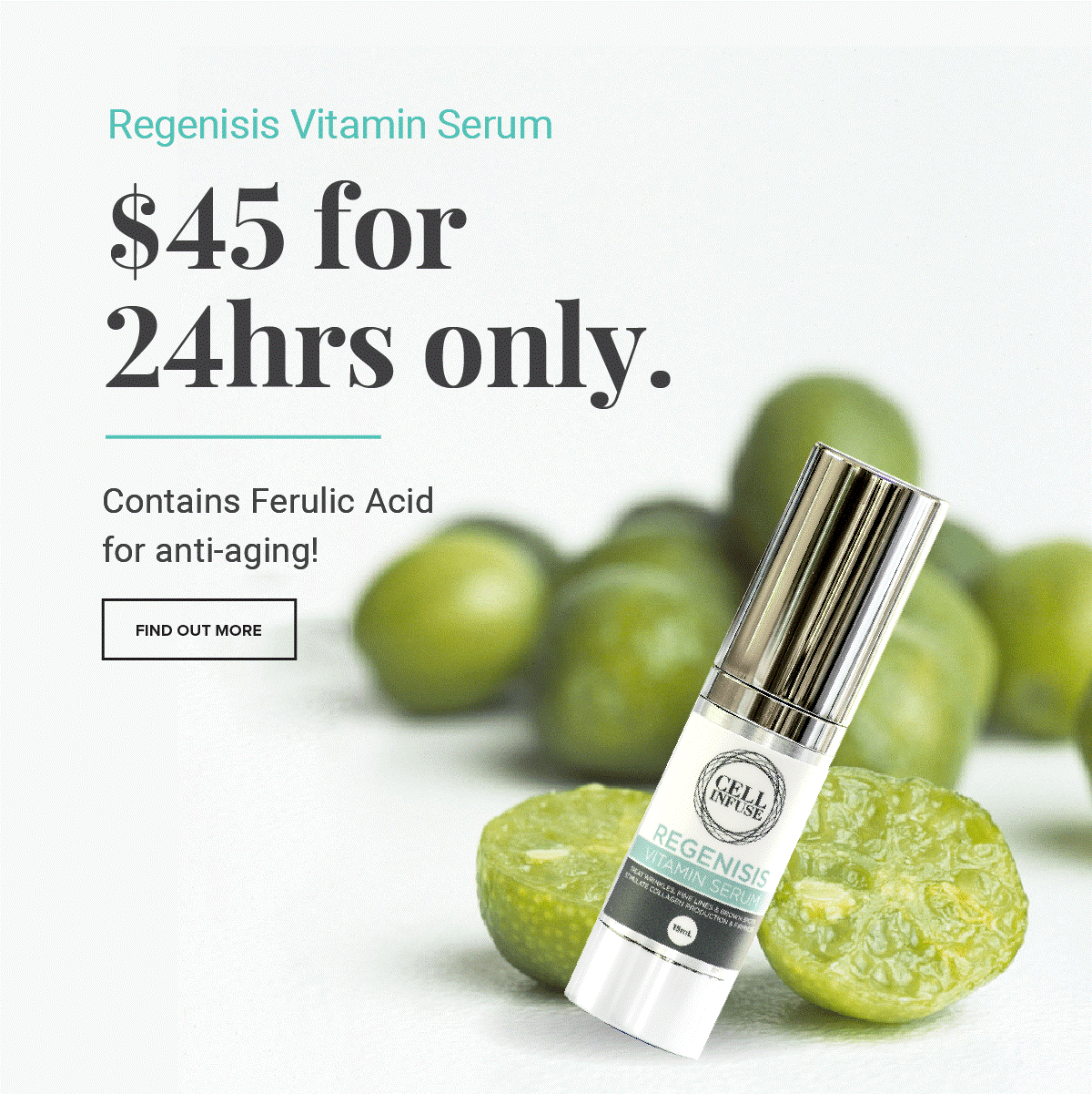 Regenisis Vitamin Serum contains Ferulic Acid